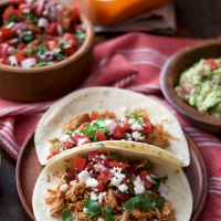 Slow Cooker Salsa Chicken Tacos with Pico de Gallo & Guacamole