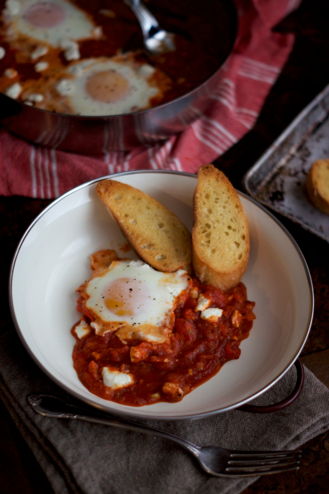 Eggs & Goat Cheese in Tomato Sauce | via Midwest Nice Blog