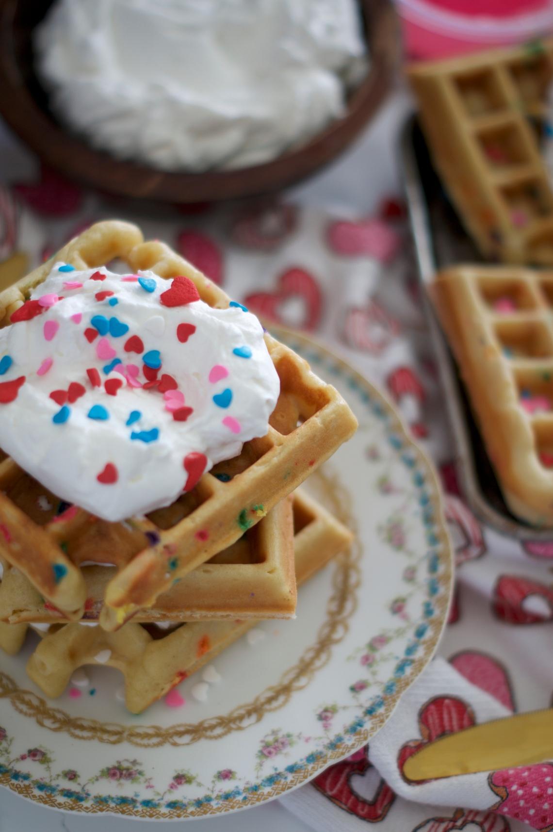 Cake Batter Waffle Recipe via Midwest Nice Blog