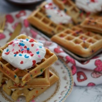 Cake Batter Waffles (& Galentine's Day)