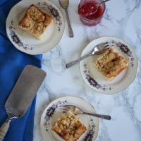 Rhubarb Cheesecake Bars with Streusel Topping (& cake stands)
